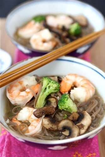 A flavorful, easy lunch or dinner recipe! Keep this Soba Noodle Soup recipe with shrimp in the regular rotation for easy meal time prep.