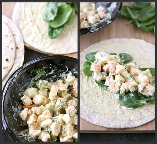 Shrimp Curry Wrap Collage