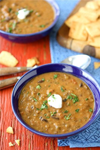Hearty Lentil and Black Bean Soup with Smoked Paprika...The perfect comfort food that happens to be vegan. Perfect for Meatless Monday! 223 calories and 2 Weight Watcher Freestyle SP #vegan