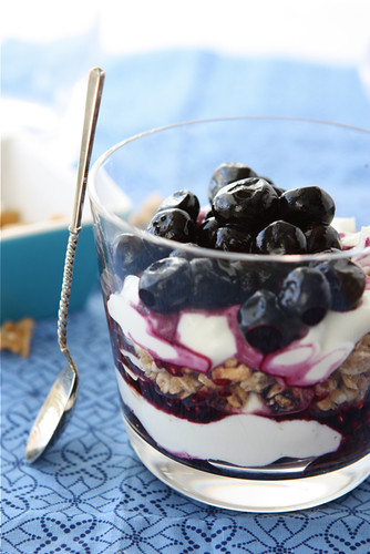 Healthy Yogurt Breakfast Parfait with Blueberries & Granola Recipe