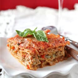 Healthy Lasagne Recipe with Turkey, Pesto & Peppers