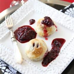 "Puff Pastry ""Ravioli"" Recipe with Gingersnap Mascarpone & Marionberry Sauce"
