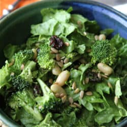 Salad with Broccoli, Dried Cherry, White Beans, Sunflower Seeds & Creamy Basil Dressing Recipe
