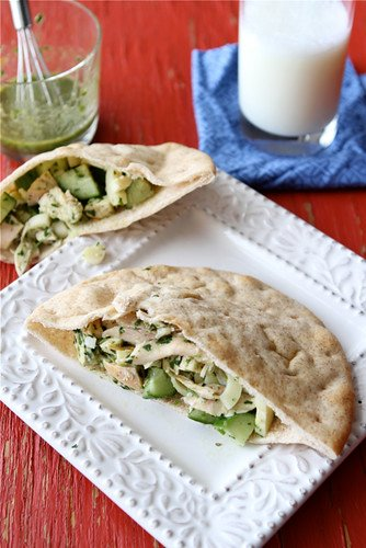 Not your typical lunchtime sandwich! This chicken pita sandwich is topped off with a fresh, flavorful chimichurri dressing. #sandwichrecipe #chimichurri #chickenrecipes