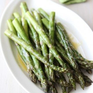 Roasted Asparagus Recipe with Miso Lime Dressing