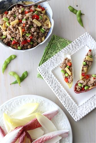 Endive-Spears-Stuffed-with-Teriyaki-Turkey-Edamame-&-Baby-Corn-Recipe-Cookin-Canuck
