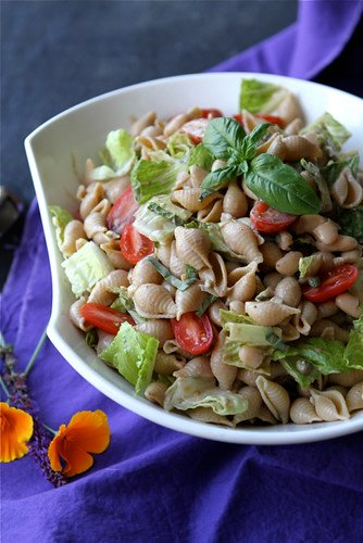 Whole Wheat Pasta Salad Recipe with Beans, Capers and Balsamic Yogurt Dressing | cookincanuck.com #vegetarian