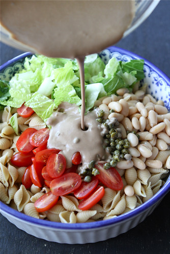 Whole Wheat Pasta Salad Recipe with Beans, Capers & Balsamic Yogurt Dressing