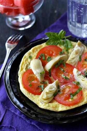 Summertime Frittata Recipe with Artichoke, Tomato & Basil Pesto