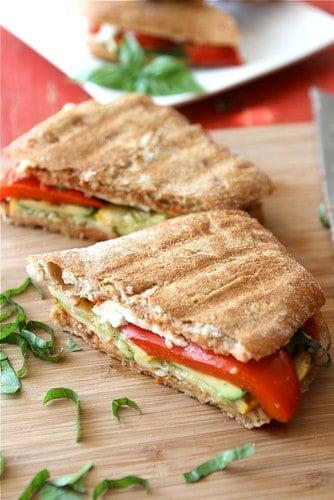 Grilled Italian Panini Recipe with Zucchini, Summer Squash and Basil {Vegetarian}