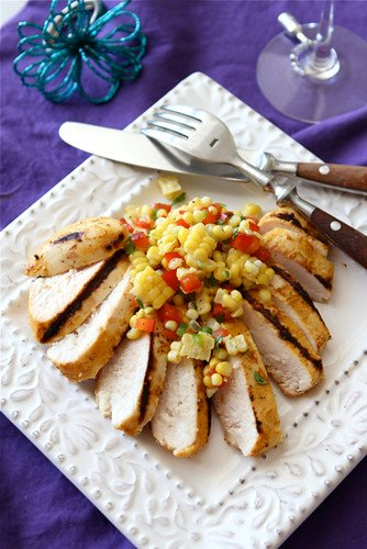 Grilled Curry &a Kefir Marinated Chicken Recipe with Fresh Corn Salsa