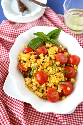 Grilled Corn Salad Recipe with Cherry Tomatoes & Basil
