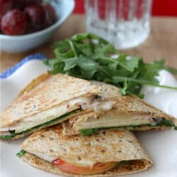 Lunchtime Quesadilla Recipe with Smoked Turkey, Apples, Havarti Cheese & Arugula