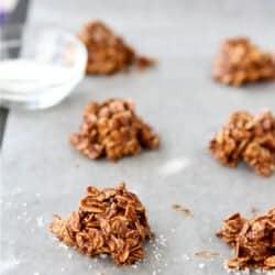 Light(er) No-Bake Cookies Recipe with Dulce de Leche, Sea Salt & Oatmeal