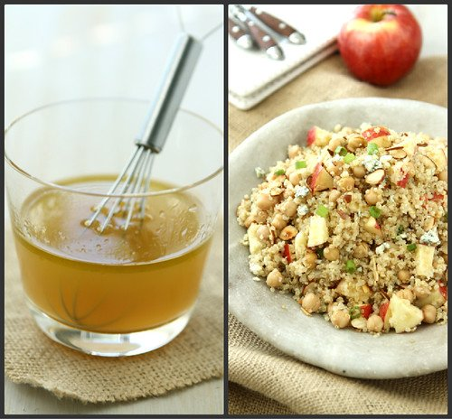 Quinoa Salad with Apple, Chickpeas, Toasted Almonds & Apple Cider Vinaigrette Recipe by Cookin' Canuck