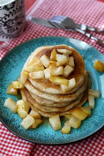 Caramel & Sea Salt Pear Pancake Recipe by Cookin' Canuck
