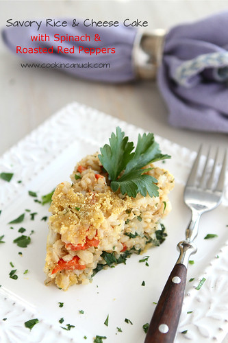 Savory Rice & Cheese Cake Recipe with Spinach & Roasted Red Peppers by @CookinCanuck