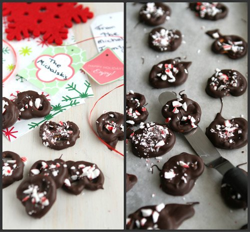 Chocolate Covered Pretzels Recipe with Crushed Candy Canes by Cookin' Canuck