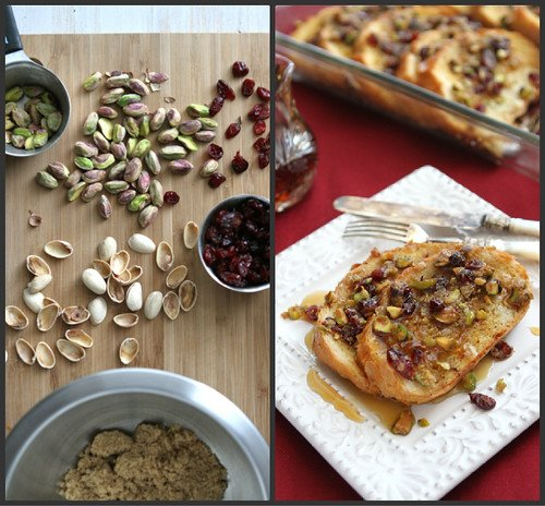 Baked French Toast Casserole Recipe with Cranberry & Pistachio Streusel