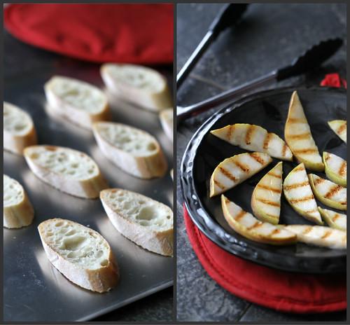 Grilled Pear, Goat Cheese & Prosciutto Crostini Recipe