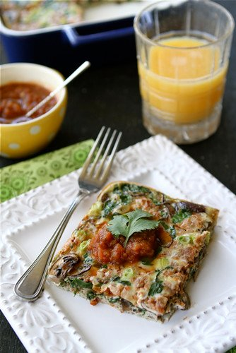 Baked Egg Breakfast Casserole with Mushrooms, Spinach & Salsa Recipe