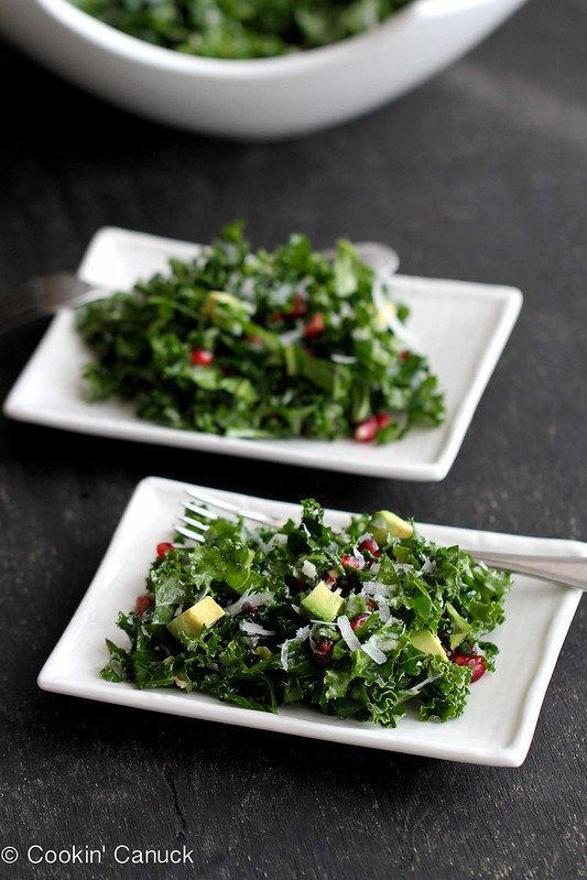 Kale salad recipes are always easy to pull off at the last minute. This one benefits from the flavors and bright colors of pomegranates and avocado. 199 calories and 4 Weight Watchers Freestyle SP