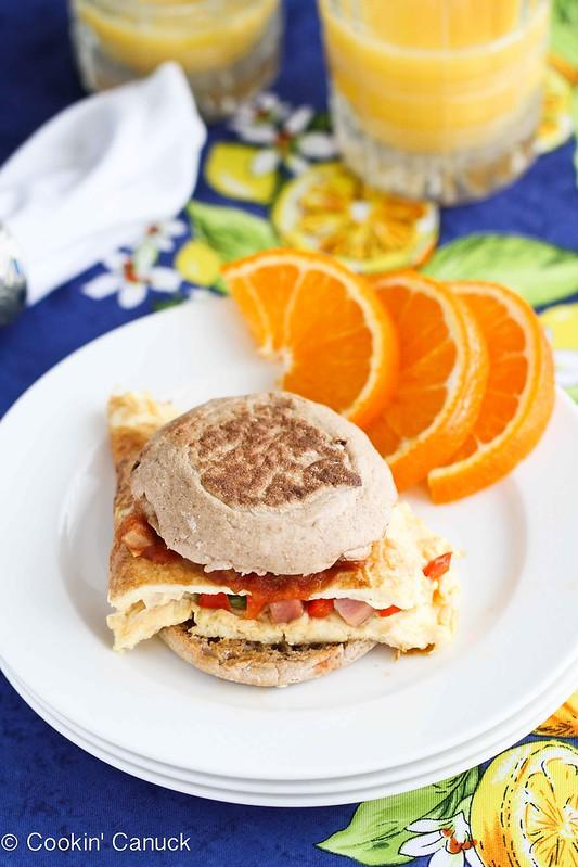 Western Omelet Breakfast Sandwich Recipe With Ham Peppers Salsa