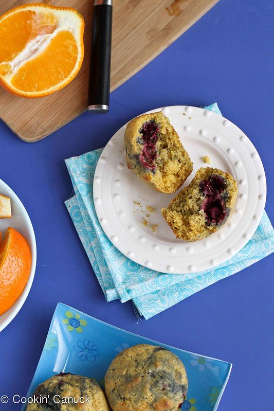 Healthy Cornmeal Muffins Recipe with Berries & Lemon by Cookin' Canuck #breakfast #healthy
