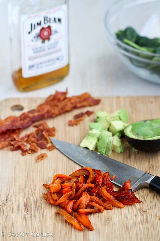 Bourbon Spinach Salad Recipe with Bacon & Avocado from Cookin' Canuck #salad #MardiGras #healthy