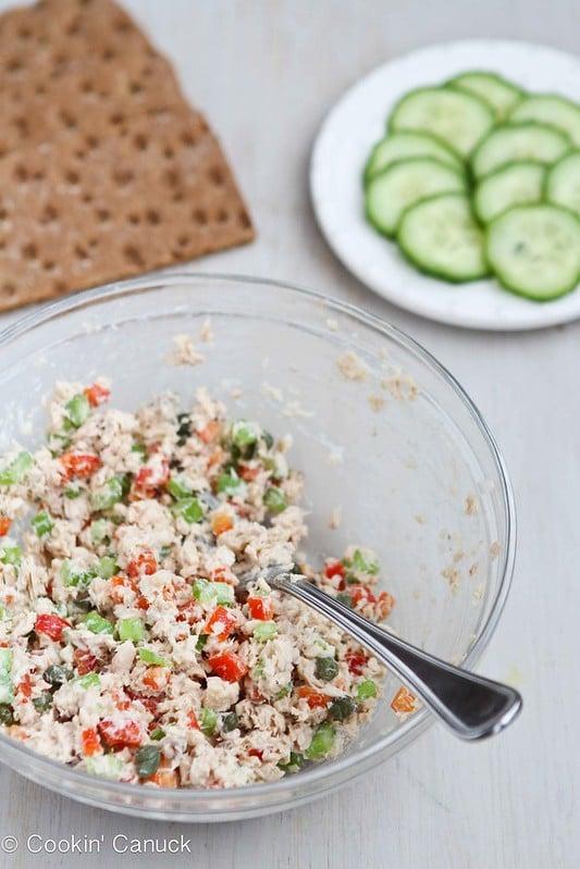 Low-Fat Salmon Salad Sandwich Recipe with Capers #lowfat #recipe