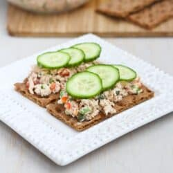 Low-Fat Salmon Salad Sandwich Recipe with Capers by Cookin' Canuck