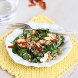 Farro Salad Recipe with Sun-Dried Tomatoes, Spinach & Cashews by Cookin' Canuck
