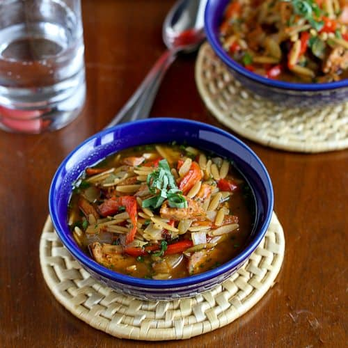 Hearty Chicken Sausage, Roasted Pepper and Whole Wheat Orzo Soup Recipe