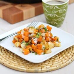 Sweet Potato & Endive Hash Recipe with Sriracha Buttermilk Sauce by Cookin' Canuck