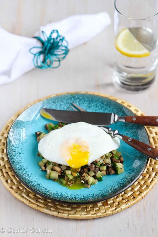 Quick Mushroom, Zucchini & Thyme Sauté with Fried Egg Recipe #vegetarian #healthy #recipe