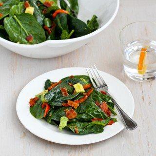 Warm Bourbon Spinach Salad Recipe with Bacon & Avocado