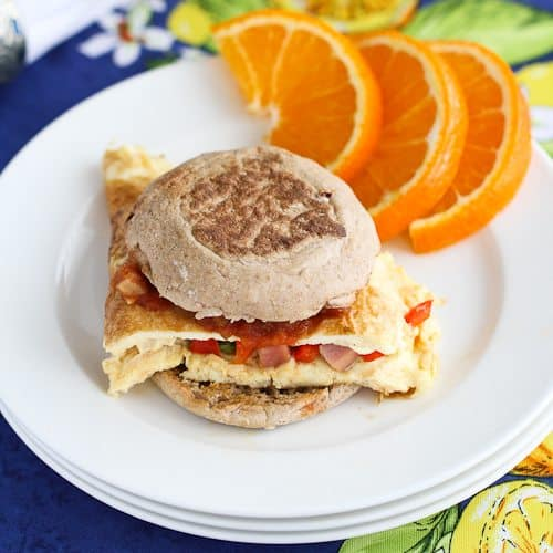 Western Omelet Breakfast Sandwich Recipe with Ham, Peppers & Salsa