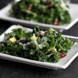 Chopped Kale Salad with Pomegranates & Avocado