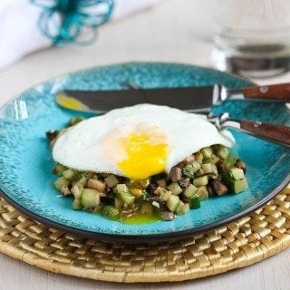 Quick Mushroom, Zucchini & Thyme Sauté with Fried Egg Recipe