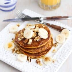 Whole Wheat Oat Gingerbread Pumpkin Pancake Recipe by Cookin' Canuck