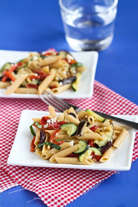 Roasted Vegetable Pasta Salad Recipe with Eggplant, Zucchini & Feta Cheese #recipe #vegetarian #pasta