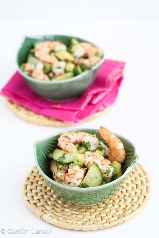 10-Minute Thai Shrimp, Cucumber and Avocado Salad Recipe...201 calories and 5 Weight Watchers PP #seafood #healthy