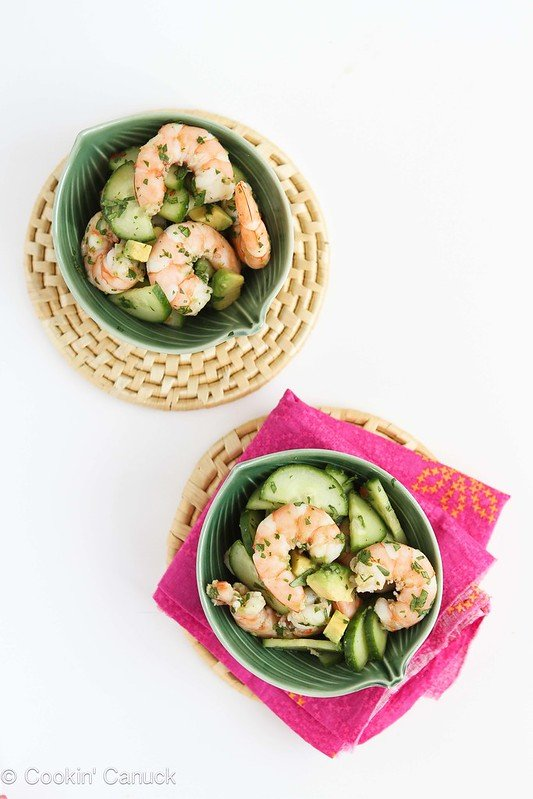 10-Minute Thai Shrimp, Cucumber and Avocado Salad Recipe...201 calories and 5 Weight Watchers SmartPoints #cleaneating