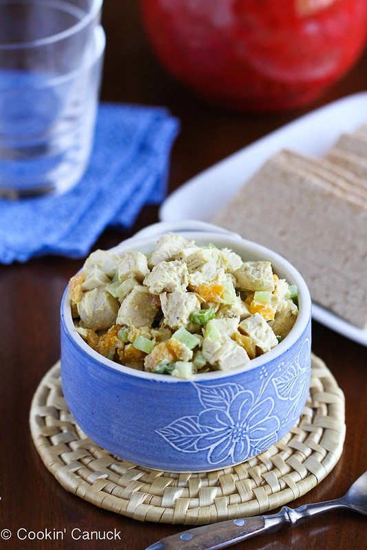 Low-Fat Chicken Salad Recipe with Curry & Apricots #recipe #lowfat #healthy