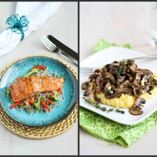 Broiled Teriyaki Salmon & Polenta with Wild Mushrooms Recipe