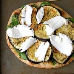 Vegetarian Naan Pizza with Eggplant & Cilantro Jalapeno Pesto Recipe