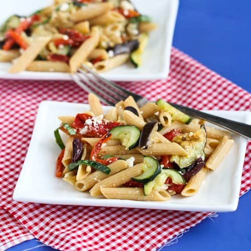 Roasted Vegetable Pasta Salad Recipe With Eggplant Zucchini Peppers