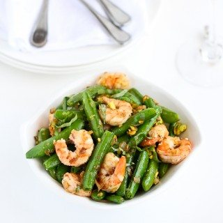 Sautéed Shrimp, Snap Peas & Pistachios with Basil Recipe
