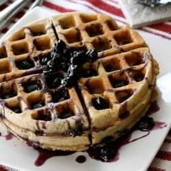 Whole Wheat Waffles with Blueberry Maple Syrup