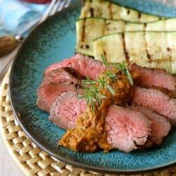 Grilled Marinated Tri-Tip Steak Recipe with Red Pepper Cilantro Pesto | cookincanuck.com